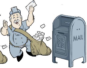Mailman bruce next to a mailbox
